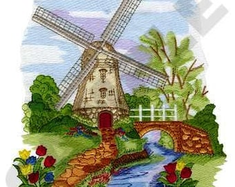 Dutch Windmill Embroidered on Made-to-Order Pillow Cover