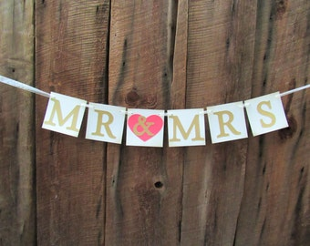 Mr & Mrs wedding banners - wedding shower signs - coral and gold -  rustic chic wedding banner - sweetheart table banner - IATY092