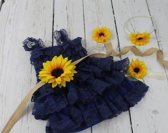 Navy Flower Girl Dress Sunflower Flower Girl Dress Rustic Navy Flower Girl Dress Navy Jr Bridesmaid Dress Navy Country Wedding Dress