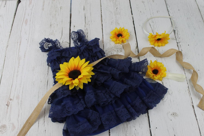 Navy Flower Girl Dress Sunflower Flower Girl Dress Rustic Navy