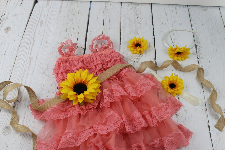 Coral Flower Girl Dress Sunflower Flower Girl Dress Rustic Coral