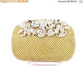 SALE 30% OFF Gold Rhinestone Bridal Clutch, Crystal Rhinestone Wedding Purse, Gold Crystal Rhinestone Evening Bag
