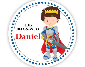 Name Label Personalized Stickers - Red Royal Knight Sticker, Prince Knight Name Sticker Labels, This Belongs To - Back to School Name Labels