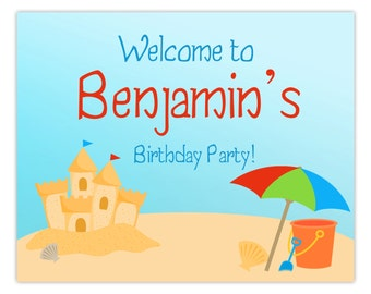 Beach Party Sign - Turquiose Sky and Sandy Beach, Sand Castle, Umbrella, Beach Personalized Birthday Welcome Sign - Digital Printable File