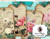 75% OFF SALE Digital Collage Sheet SHABBY Old Roses Digital Tags Digital Collage Instant download
