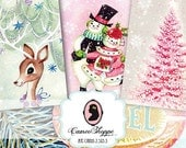75% OFF SALE HAPPY Christmas Digital Collage Sheet set of 8 Atc cards Digital Tags Digital Collage Instant Download