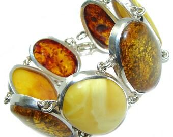 Amber Sterling Silver Bracelet - weight 86.90g - dim 1 1 2 inch - code 6-lip-16-57