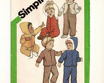 """A Front Zip Overalls,  Front Zip Jacket with Hood Variation, and Vest Patttern for Toddlers: Uncut - Size 2, Chest 21"""" • Simplicity 5258"""