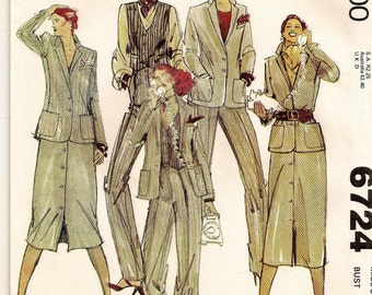 A Coordinates Pattern for Women: Buttoned Jacket & Vest, Front-Buttoned Straight Skirt, and Tapered Pants - Uncut - Size 10 • McCall's 6724