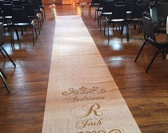 Wedding Aisle Runner - Custom Hand-painted; White , Ivory or Burlap fabric