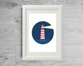 Lighthouse print - Lighthouse poster - Ocean print - Ocean poster - Sailor print - Sailor poster - Sailor decor - Sailor art print - Sea art
