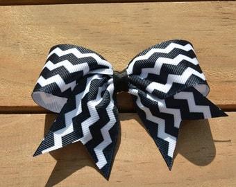 "Black and White Chevron Ribbon 4"" Medium Hair Bow Clip Infant Toddler Girls"