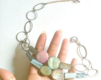 Pastel Flat Bead Statement Necklace, Handmade, Layered Necklace, Multi Strand Necklace