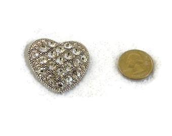 Silvertone Liz Claiborne Rhinestone Heart Brooch, Pin, Vintage Item, Brooch Bouquet, Scarf, Lapel, Sweater, Signed LC
