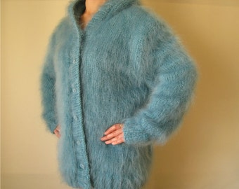 made to order ! New Turquoise Mohair Jacket Thick Cardigan Sweaters XL hand knitted