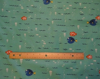 Aqua Waves Finding Dory Character Cotton Fabric by the Yard