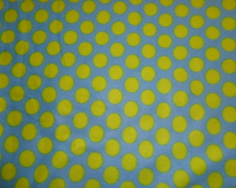 2.5 Yards Green/Blue Polka Dot Fleece Fabric