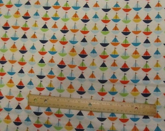Nautical White with Multicolor Sailboats Flannel Fabric by the Yard