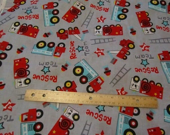 Gray with Red Rescue Fire Trucks Cotton Fabric by the Yard