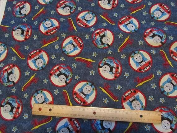 Blue denim thomas train circle cotton fabric by the yard for Train fabric by the yard