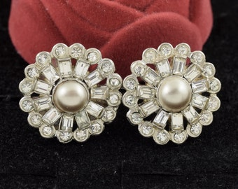 Sterling Silver Rhinestone Earrings 1950s Signed Har-Mor ~ Lot 10023