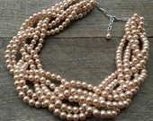 CYBER MONDAY Bridal Necklace Pink Champagne Pearl Necklace Statement Braided Cluster on Silver or Gold Chain