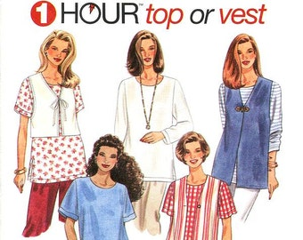 Simplicity Top Pattern 7209 - Misses' Easy Tops or Vests - Simplicity Patterns - Sz XS/S/M