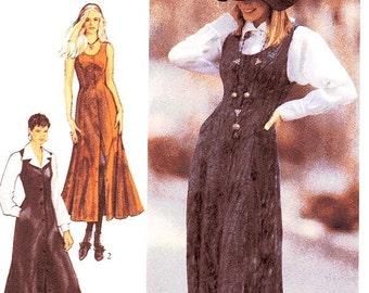 Style Dress Pattern 2317 - Misses' Midi Length Button Front Jumper Dress/Pinafore - Sz 8 thru 18
