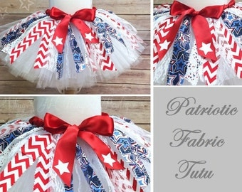 PATRIOTIC FABRIC TUTU Skirt, Fourth of July, July 4th, Red White and Blue, Stars and Stripes, Toddler, Girls, Baby, Parade, America, Flag
