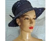 Vintage 1960s Hat Navy Blue Hat Raffia Hat Bow Trim