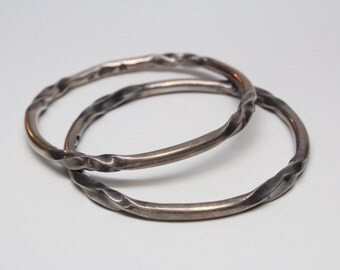 Vintage Mexican Silver Bangles - Matching Pair - Hallmarked - Outstanding Quality