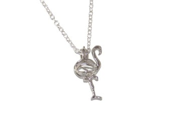 Flamingo Pearl Cage Pendant Necklace Choose Stainless Steel, Standard or Snake Chain or Cage Only Options Fits 6.5mm Pearl