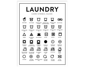 Laundry Care Chart Printable - Letter Size - INSTANT DOWNLOAD