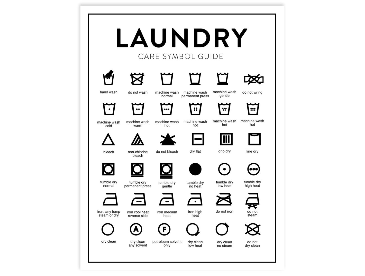 This is an image of Luscious Laundry Symbols Printable