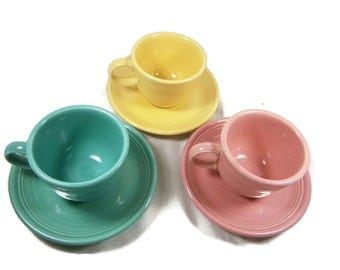 Three Vintage Fiesta Cups And Saucers / Homer Laughlin Pottery Co. / Pink / Yellow / Turquoise / 1980's
