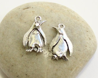 Antiqued Silver Penguin Pendants -- 2 pieces -- Quest Pewter Made in the USA