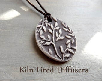 Textured Essential Oil Diffuser White Clay Jewelry Botanical Aromatherapy Rustic Necklace Natural Kiln Fired Pendant Healthy Living Organic