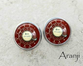 Vintage rotary phone earrings, phone earrings, phone stud earrings, telephone earrings, red telephone earrings, HG118E