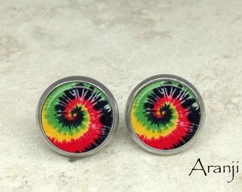 Tie dye swirl stud earrings, tie dye earrings, spiral earrings, spiral stud earrings, swirl earrings, tie dye post earrings PA160E