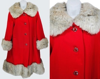 Vintage 60's JULI DE ROMA Red & Fur Collared Coat M/L