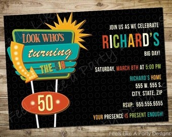 Custom Retro 50th Birthday Party Invite