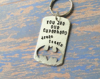 Daddy Keychain - Father's Day Gift - you are our superhero - you are my superhero, bat keychain, batman keychain