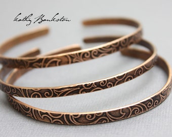 Thin Copper Cuff, Copper Cuff Bracelet, Embossed Copper Bracelet, Copper Bracelets, Embossed Bracelets, Kathy Bankston, Copper Jewelry