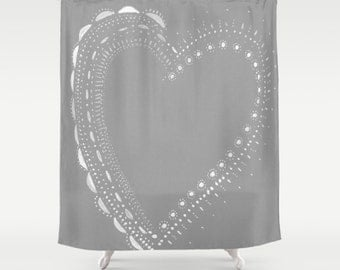 Grey Heart Shower Curtain, grey shower curtain, gray shower curtain, grey heart curtain, heart shower curtain, gray heart curtain