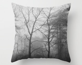 Forest Fog Outdoor Throw Pillow Cover, woodland pillow, black white pillow, forest throw pillow, tree outdoor pillow, trees outdoor pillow
