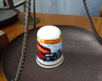 thimble with London bus picture