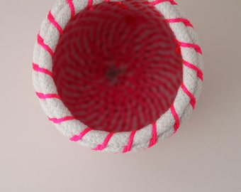 Upcycled Natural & Neon Rope Basket: Pink / Coiled / Small