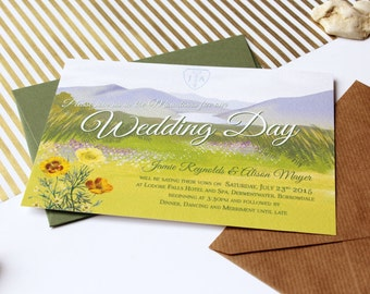 Winderemere Lake District Mountain Illustrated Wedding Invitations