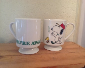 """Snoopy and Woodstock golf mugs / Vintage signed Snoopy mugs / 60s Charles Schultz Peanuts mugs / """"You're Away"""" golfer's gift / father's day"""