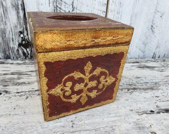Antique Vintage Florentine Florentia Wooden Tissue Box Holder Italy Italian Red Gold Kleenex
